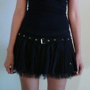 Black goth skirt with studded belt